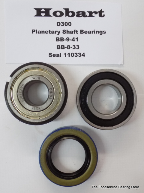 Hobart D300 Planetary Shaft Bearings Top BB-9-41 W/ Snap Ring Bottom BB-8-33  Oil Seal 110334