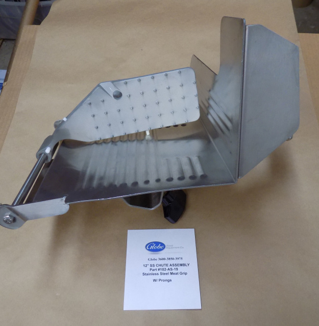 Globe 2500-4875V Slicer Chute Trey Assembly With Stainless Steel End Weight Part # 102-AS-9