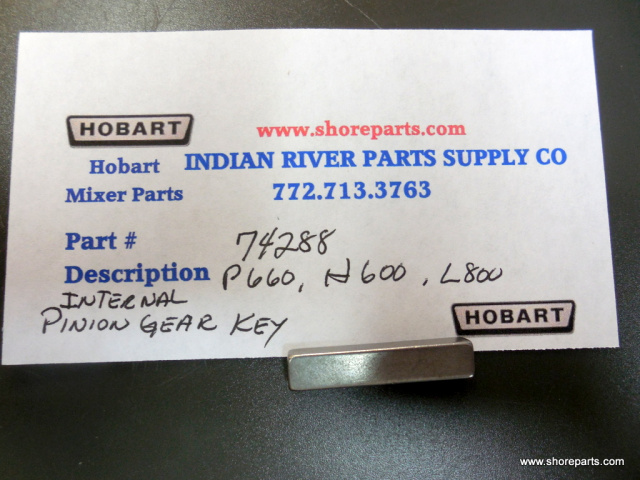 Hobart Mixer 74288 P660, H600, L800 Internal Pinion Gear Key