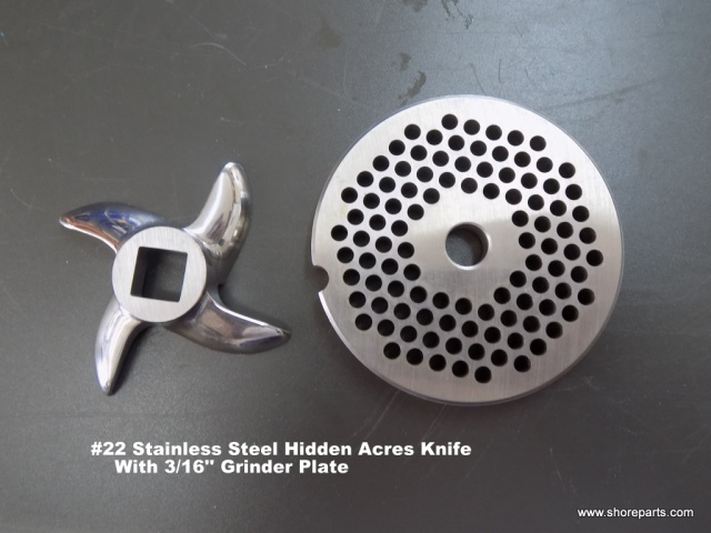 "#22 Hidden Acres Stainless Steel Knife With 3/16"" Hidden Acres Grinder Plate"