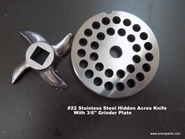 "#22 Hidden Acres Stainless Steel Knife With 3/8"" Hidden Acres Grinder Plate"